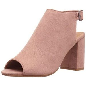 CL by Laundry Pink Suede Peep Toe Booties